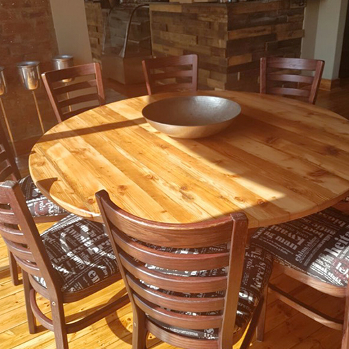 reclaimed timber resturant tables